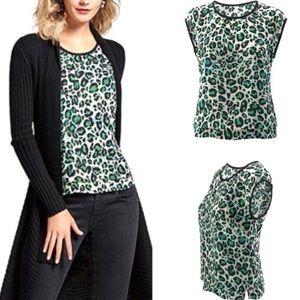 CAbi Jungle Top Sleeveless Green Leopard Print